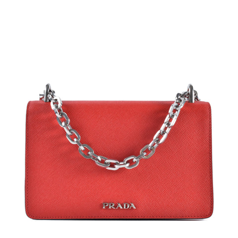 f16580f8ebf Prada 1BD010 Tessuto   Saffiano Bicolor Shoulder Bag in Black Red  (Nero+Lacca