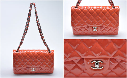 Classic Jumbo Double Flap Quilted Coral Pink Patent Leather SHW - Glampot