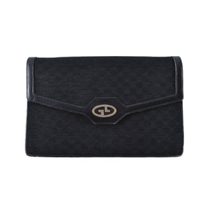 Gucci Vintage GG Canvas/Leather Clutch in Black