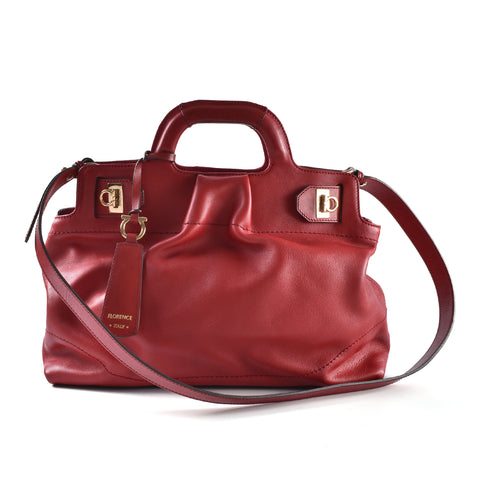 Salvatore Ferragamo Red Soft Calfskin GHW Satchel  Bag AB-21C537