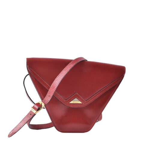 Bally Red Triangular Leather Crossbody