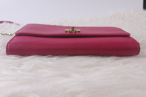Tory Burch 34037 Mercer Chain Wallet in Carnation Red