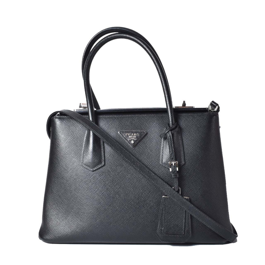Prada Black Saffiano Cuir Leather Twin Tote Bag