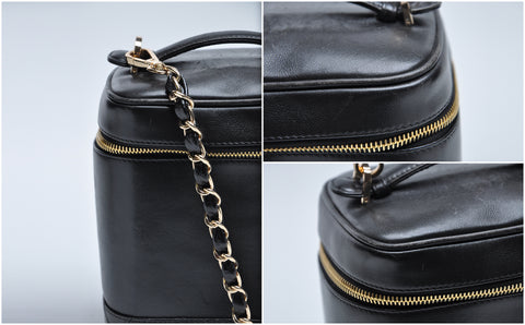 Vintage Vanity Bucket Bag with Chain in Black Lambskin and GHW