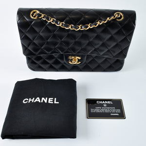 Chanel Medium Black Lambskin Double Flap GHW 14198633 - Glampot