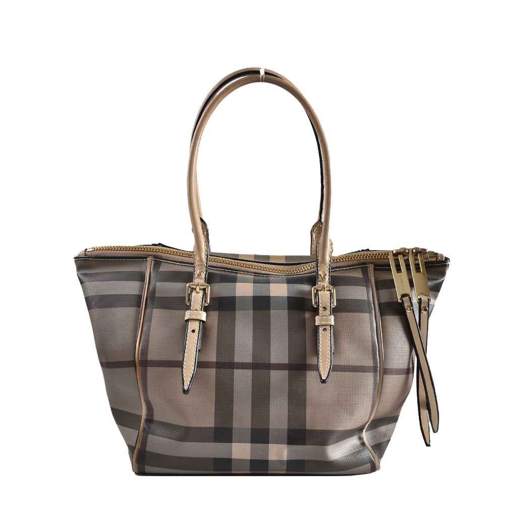 Burberry Smoked Check Saddle Stitch Small Salisbury Tote