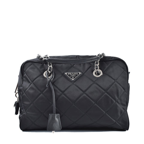 Prada 1BB903 Black Quilted Tessuto Nylon Shoulder Bag with Chain Accents
