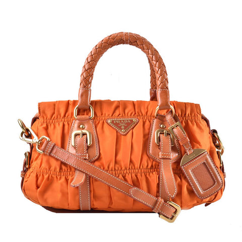 Prada BN1388 Tessuto Gaufre Papaya Braided Top Handle