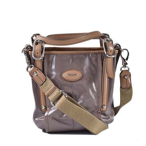 f1a4cd17320 Tods G-Line Mini Coated Canvas Shopping Bag Dark Brown with Camel Trim