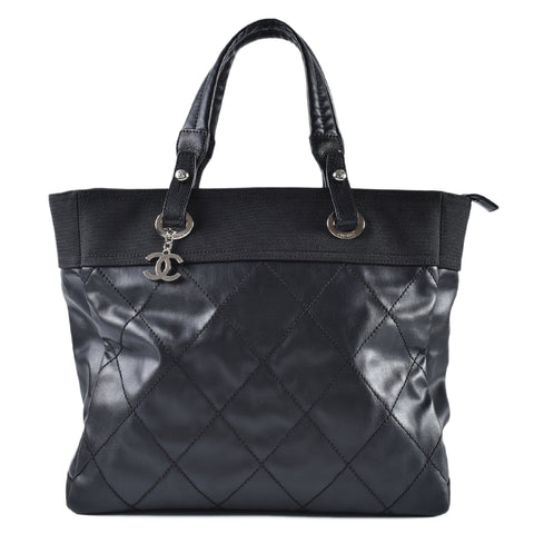 Chanel Large Black Quilted Coated Canvas Paris Biarritz Grand Shopping Tote 15511423