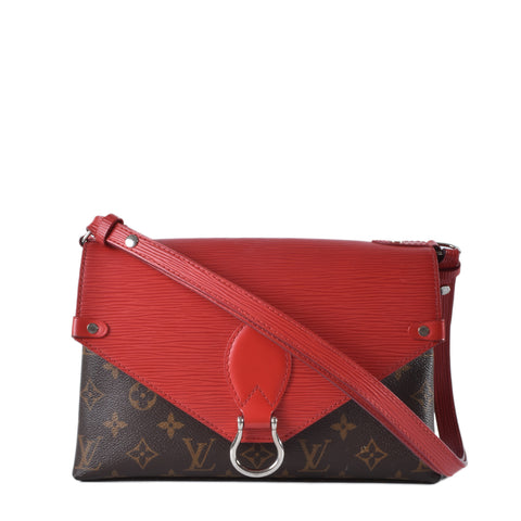 Louis Vuitton Coquelicot Red Epi Leather and Monogram Canvas Saint Michel Bag
