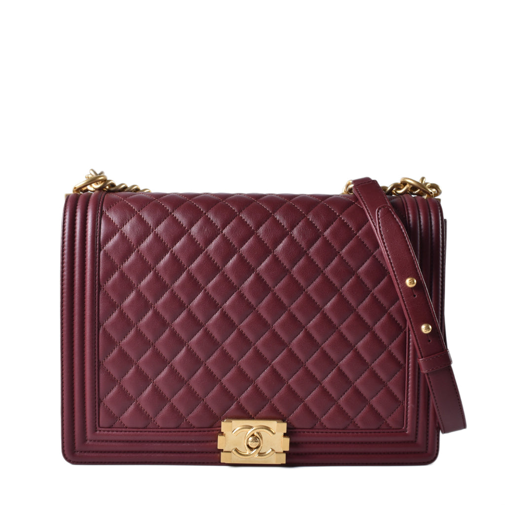 Chanel Burgundy Quilted Lambskin Leather Large Boy Bag
