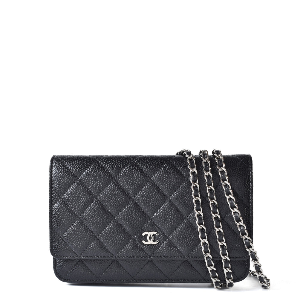 Chanel Black Caviar Leather Classic Wallet On Chain Clutch Bag