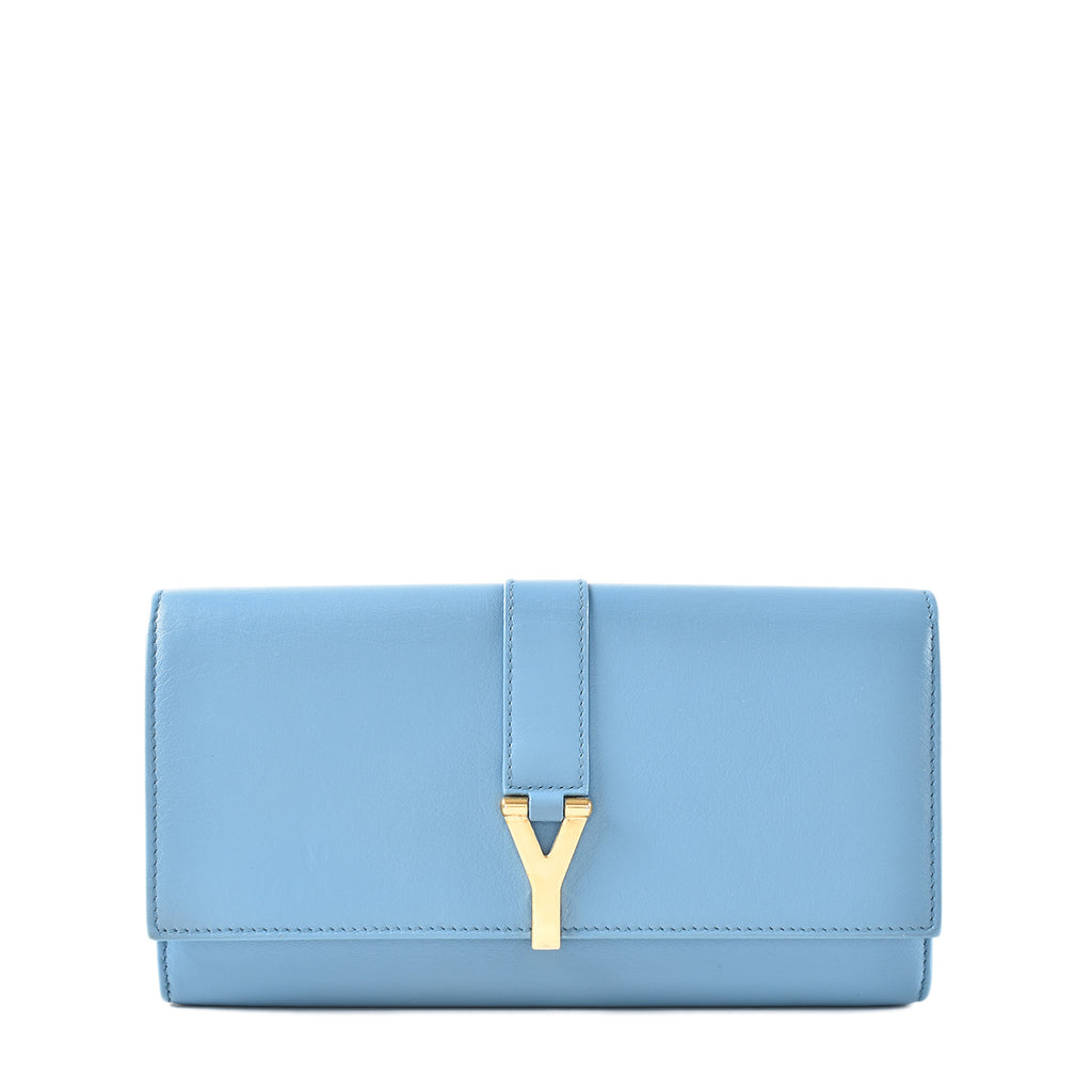 Yves Saint Laurent Cabas Ysl Ligne Y Macho Long Wallet in Bleu Glacier