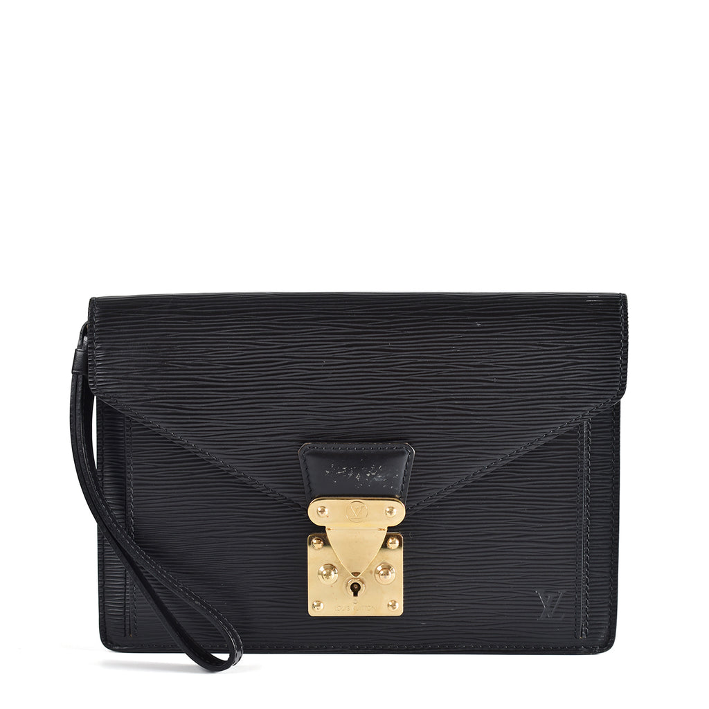 Louis Vuitton Black Epi Leather Sellier Dragonne Clutch Bag