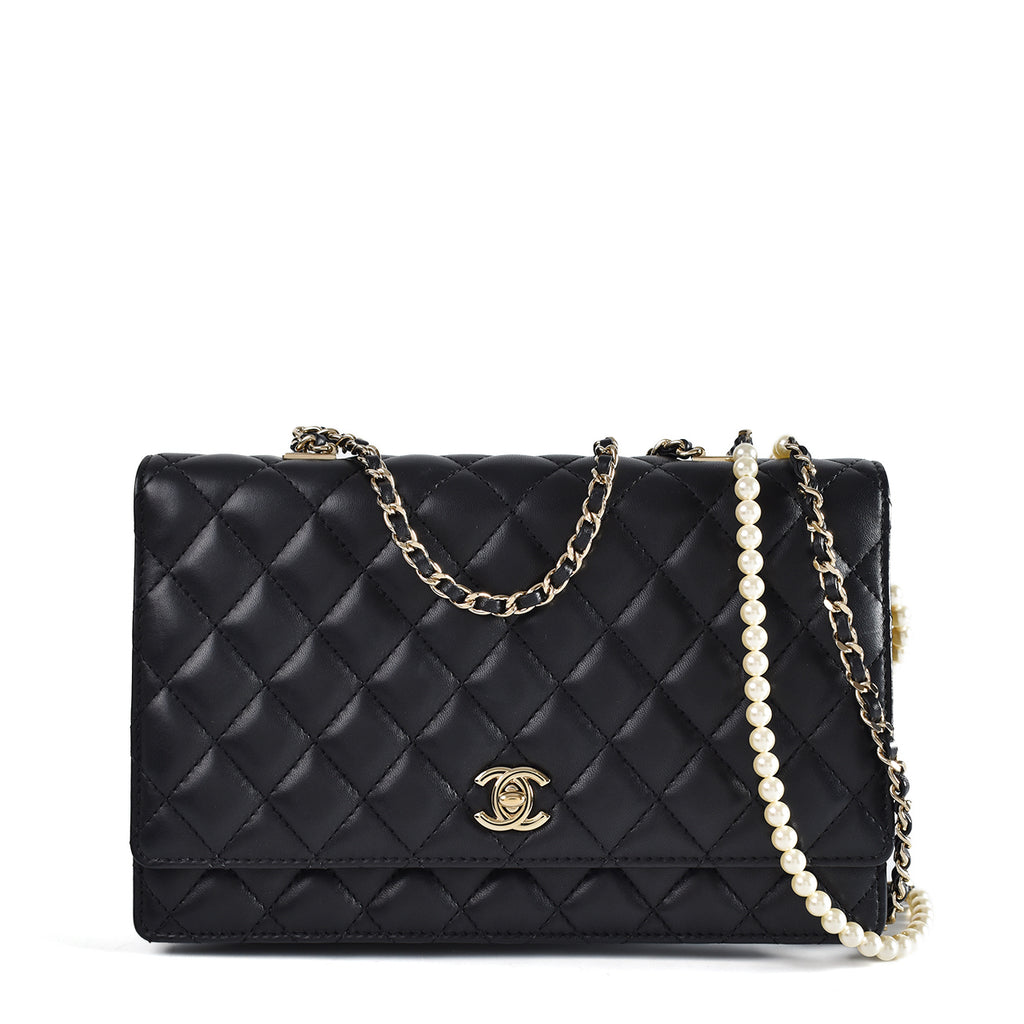 Chanel Black Quilted Lambskin Leather Fantasy Pearls Flap Bag