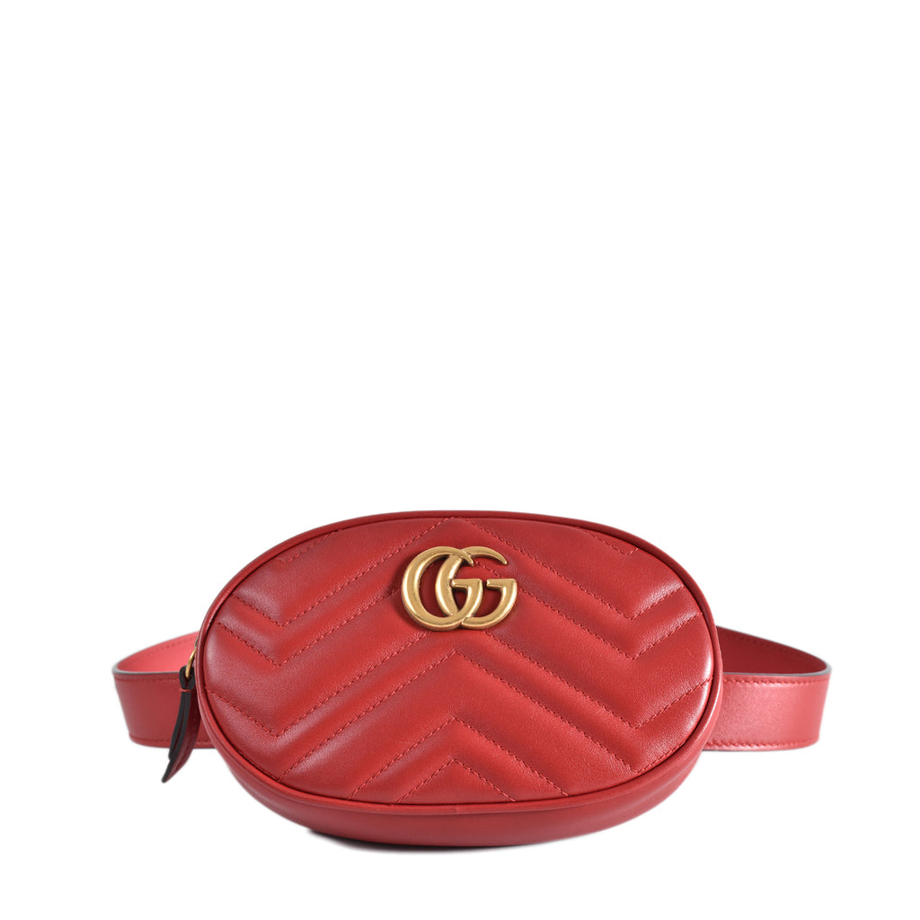 Gucci GG Marmont Hibiscus Red Matelassé Chevron Leather Belt Bag 476434 525040