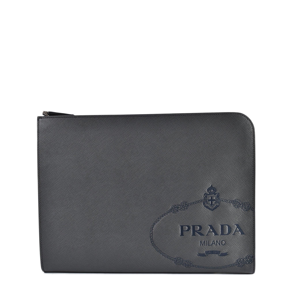 Prada 2VN003 Portadocum Saffiano Travel Antracite + Baltico Document Holder