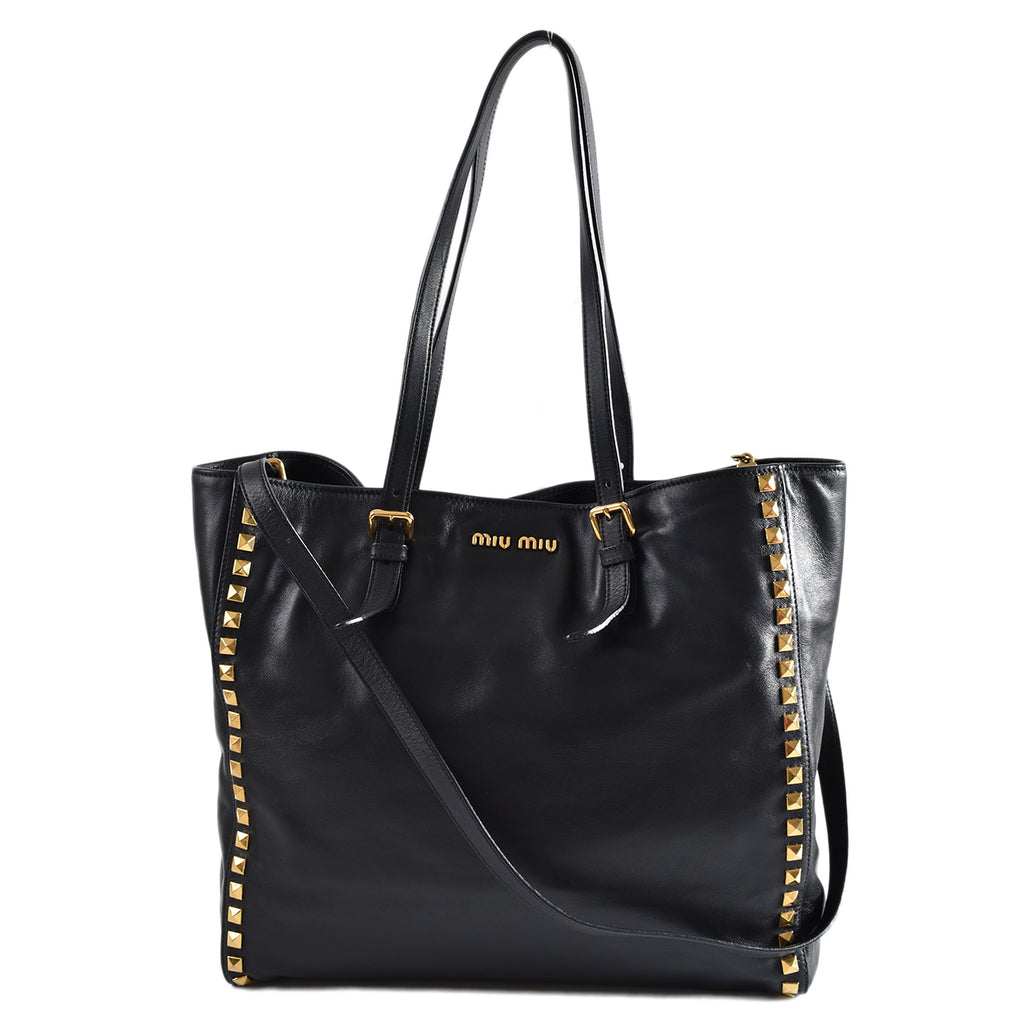 Miu Miu Black Studded Leather Tote with Strap