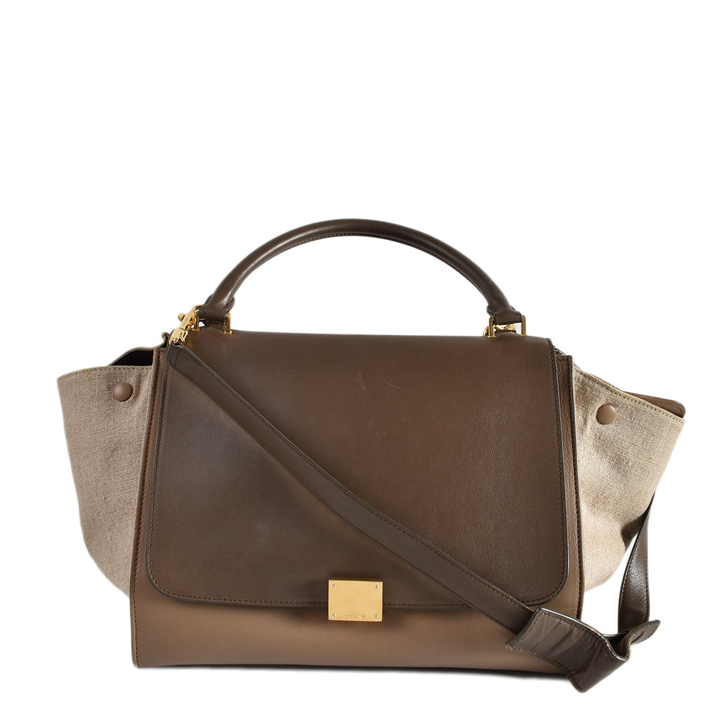 Celine Tricolor Leather & Canvas Trapeze Bag