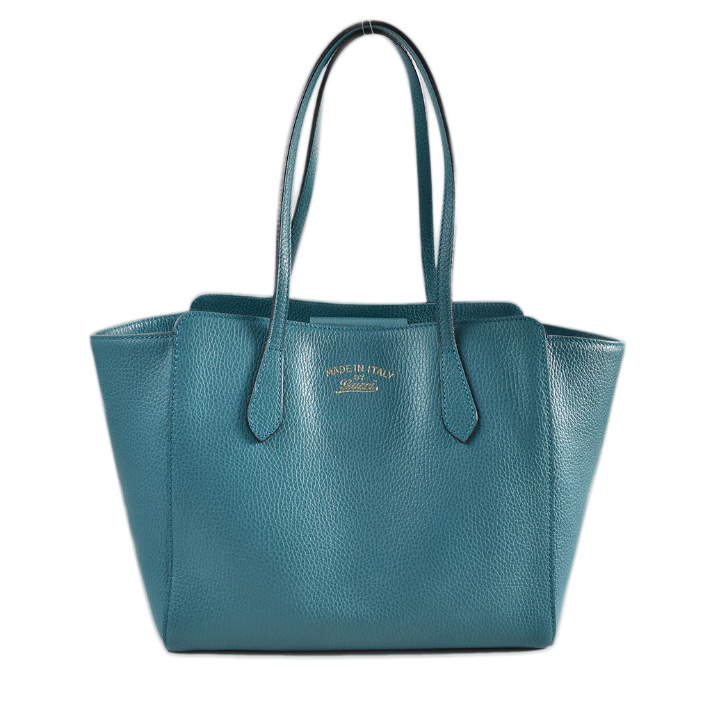 Gucci Turquoise Pebbled Leather Small Swing Tote Bag