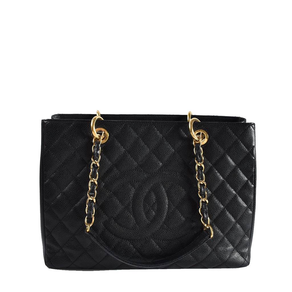 Chanel Black Quilted Caviar Leather Grand Shopping Tote Bag GHW