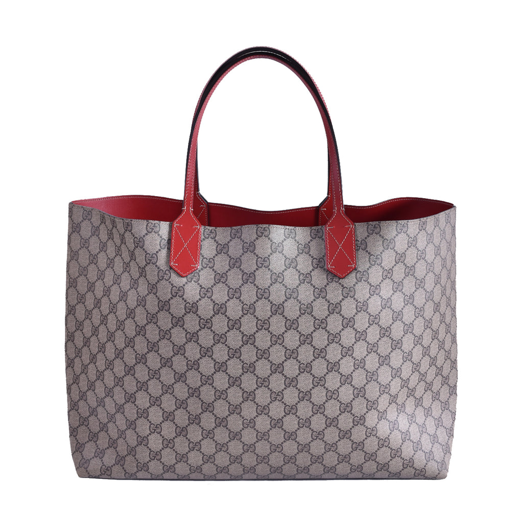 Gucci Beige/Red GG Coated Canvas Reversible Large Tote Bag
