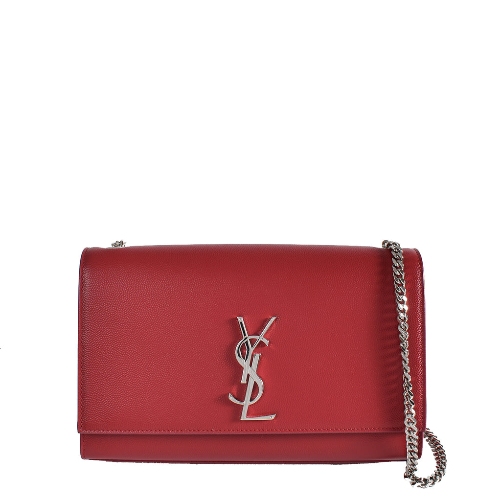 Yve Saint Laurent Red Leather Monogram Medium Kate Flap Bag