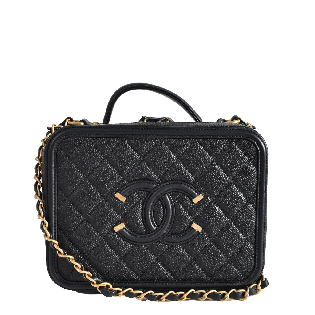 Chanel Black Quilted Caviar Leather Filigree Vanity Case Bag GHW