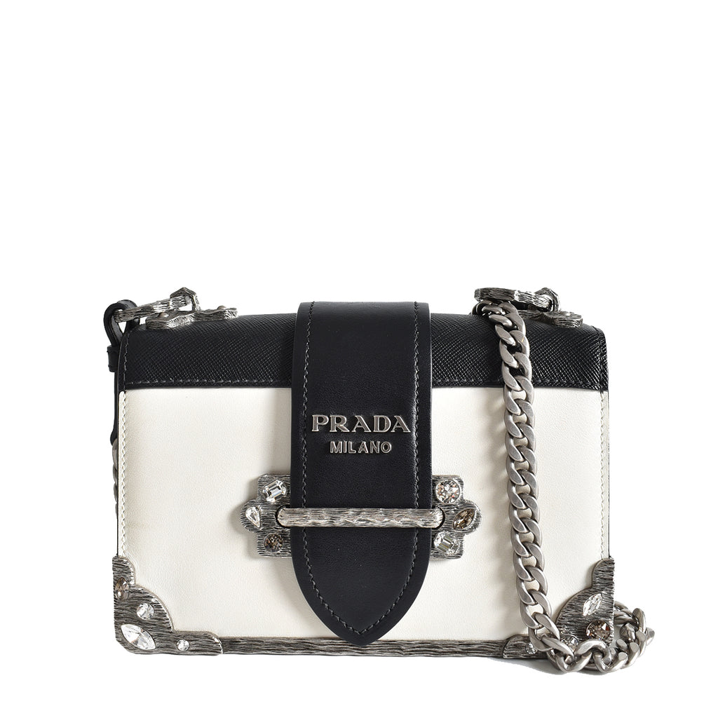 Prada Cahier Calf Leather Bag in Black and White 1BH018