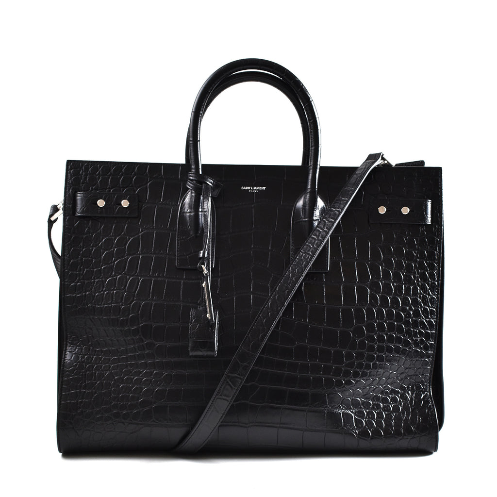 Yve Saint Laurent Crocodile Embossed Sac De Jour Large in Black