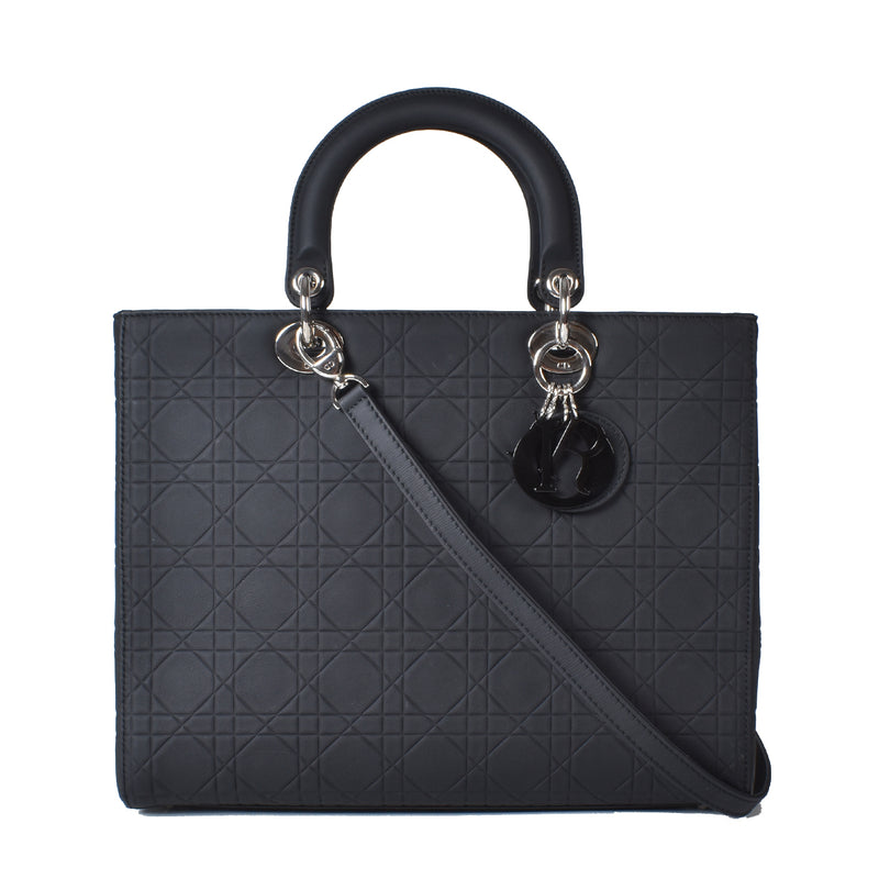 Christian Dior Cannage Quilted Ultra Matte Black Large Lady Dior Bag 16-BO-1123