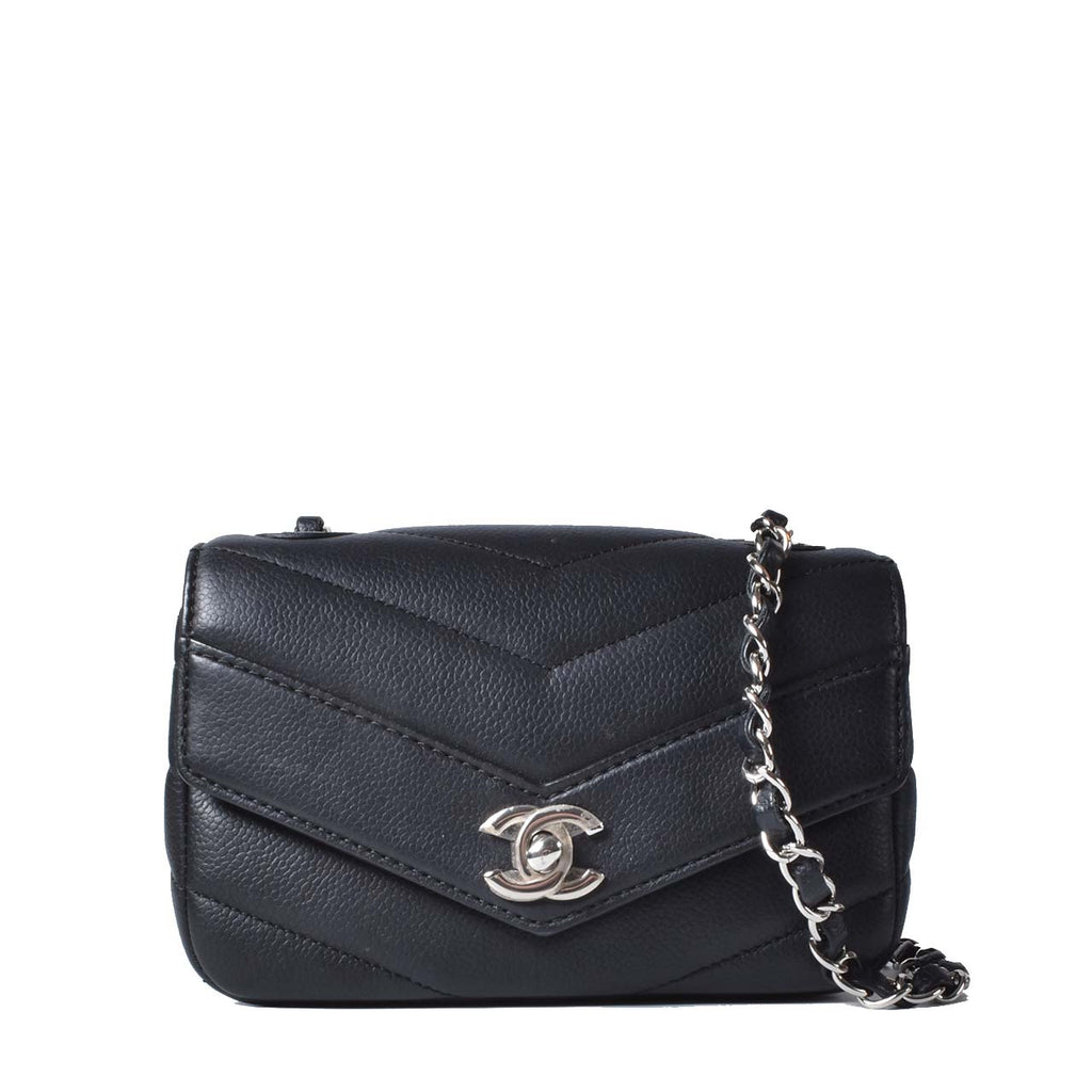 Chanel Small Chevron Quilted Flap Bag in Black SHW