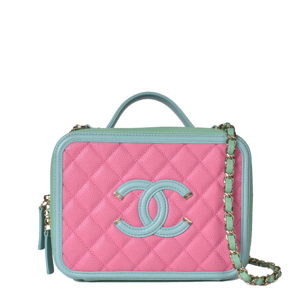 Chanel Caviar Quilted Medium CC Filigree Vanity Case Pink Green Blue