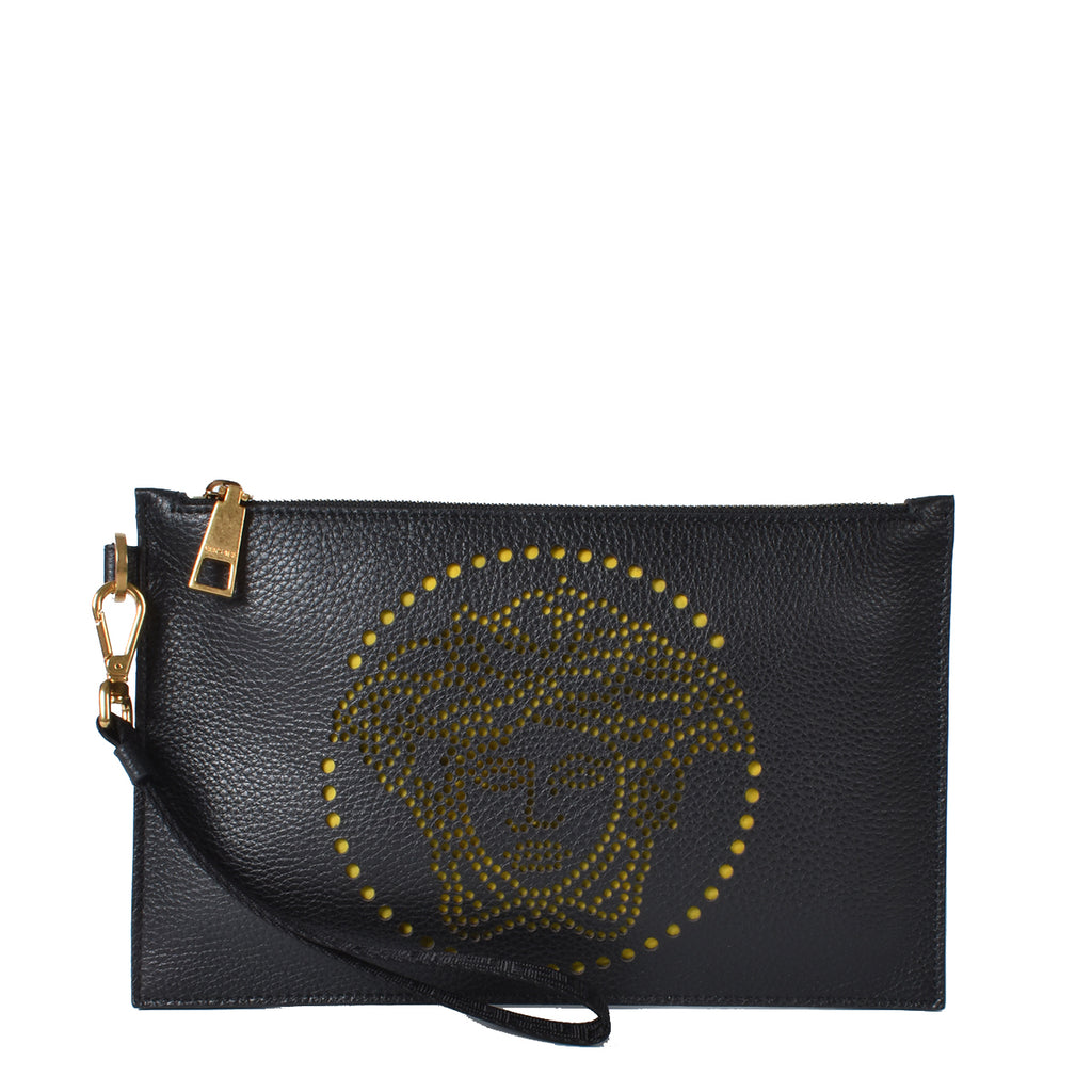 Versace Black Rortatutto Medusa Zip Clutch