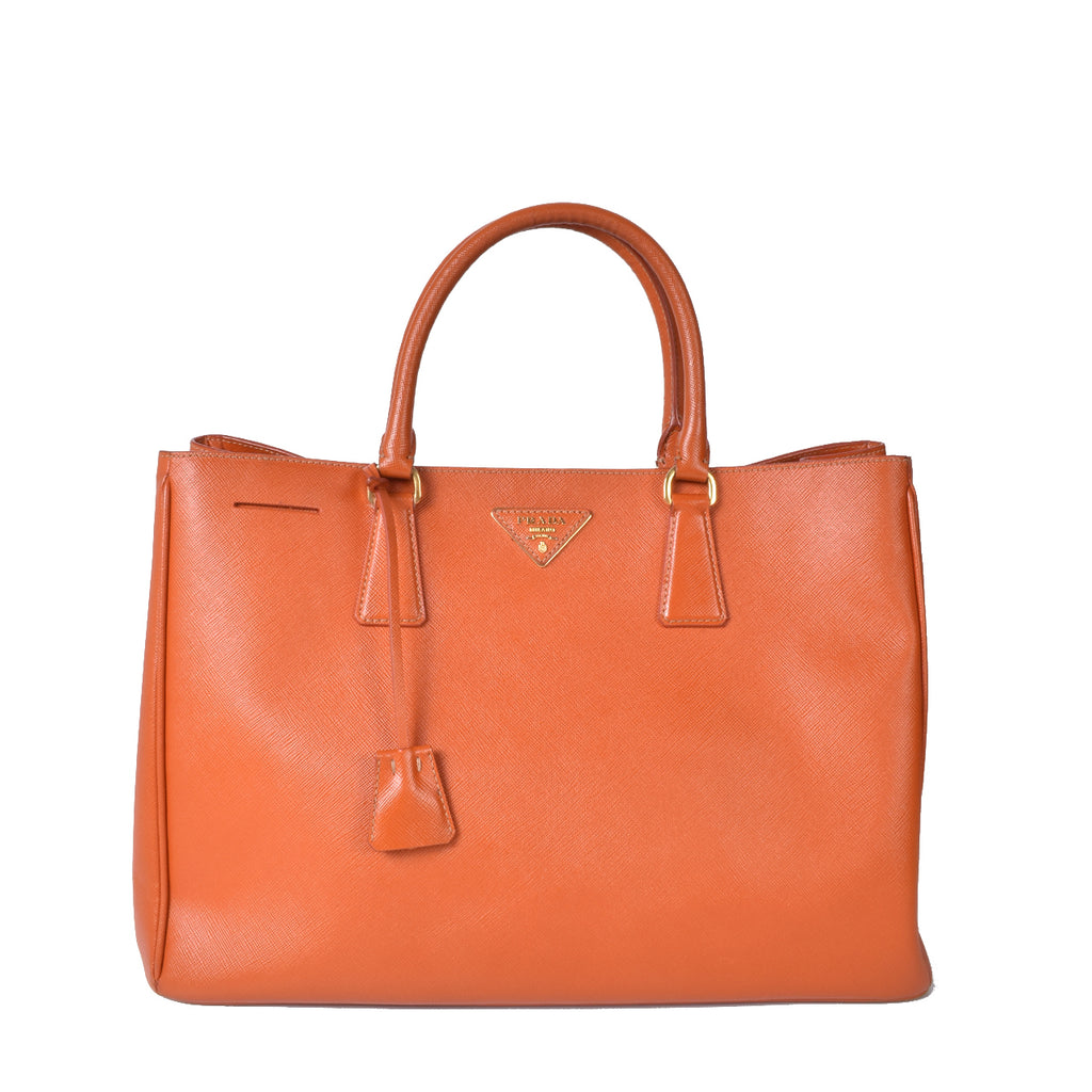 Prada BN1844 Saffiano Lux Leather Large Tote Bag in Papaya