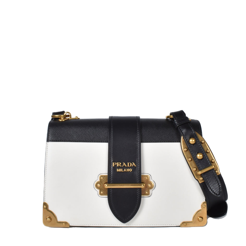 Prada 1BD178 Cahier Large Leather Bag in White