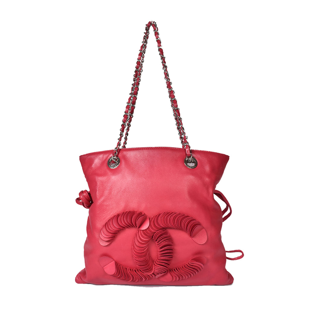 Chanel Disc Bon Bon Small Lambskin Tote in Red