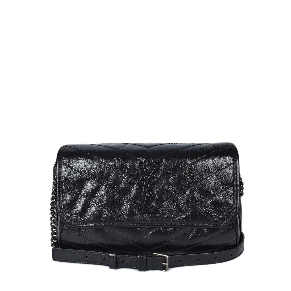Yves Saint Laurent Black Quilted Crinkle Leather Niki Belt Bag