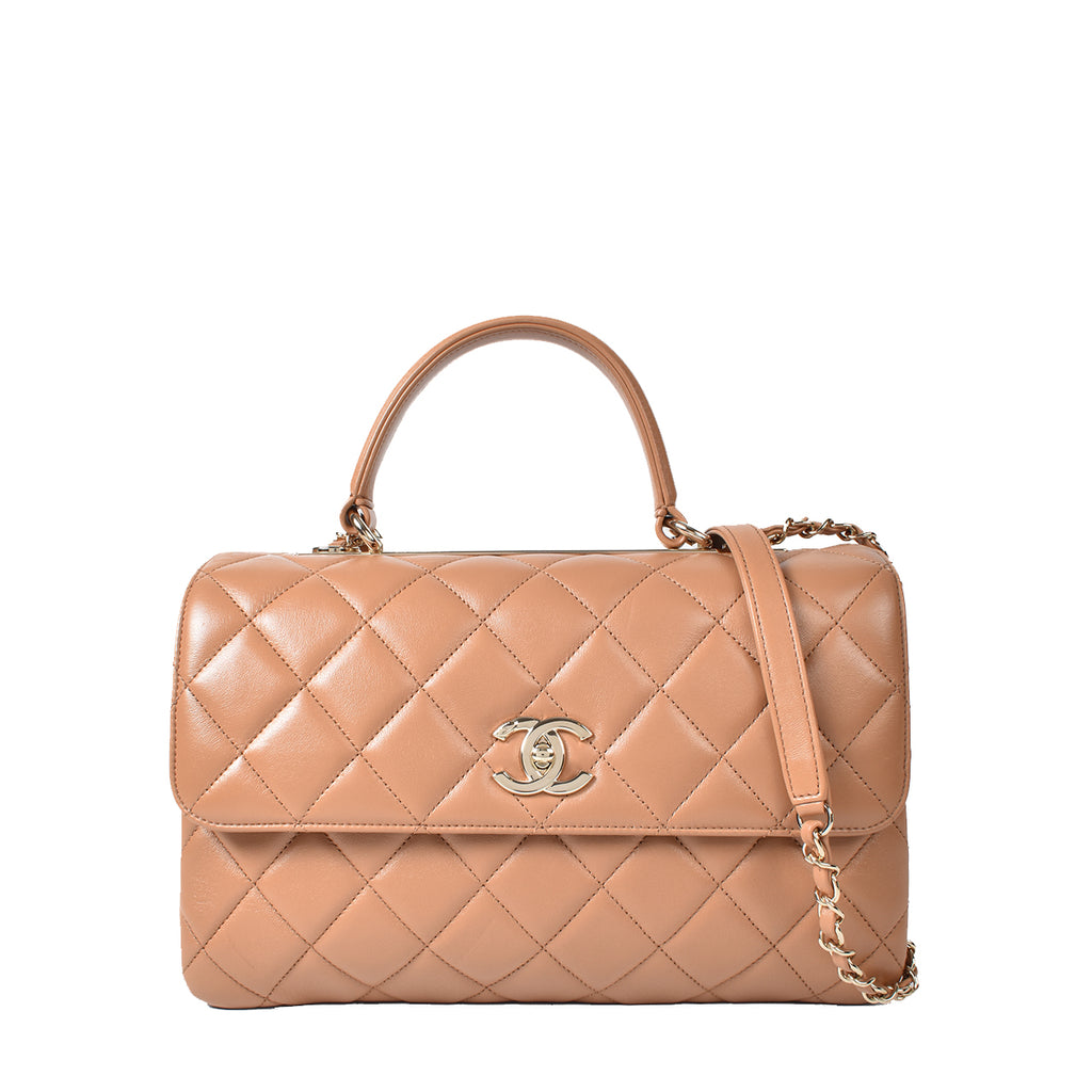 Chanel Beige Quilted Lambskin Leather Medium Trendy CC Bag