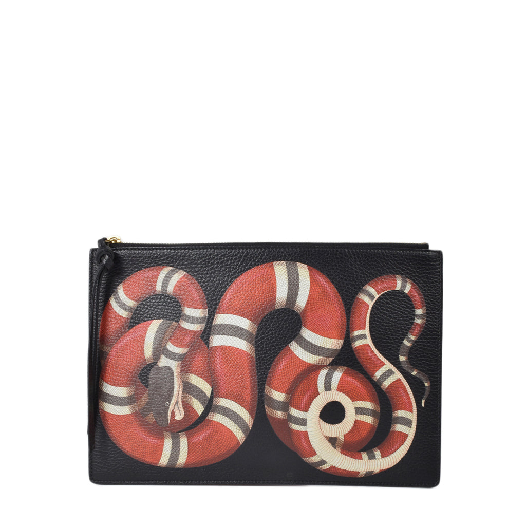 Gucci Pebbled Calfskin Snake Print Men's Clutch in Black