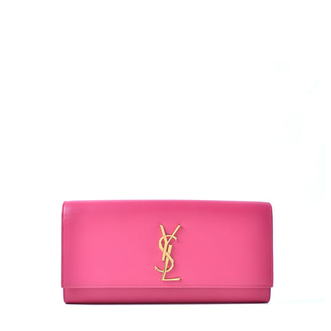 YSL Pink Cassandre Grained Leather Clutch