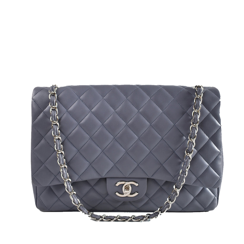 Chanel Grey Quilted Lambskin Leather Classic Double Maxi Flap Bag