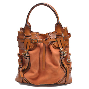 Burberry Prorsum Orange Brown Suede Tan Box Leather Tote Bag - Glampot