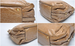 Camel Brown Aged Leather Shoulder Bag - Glampot
