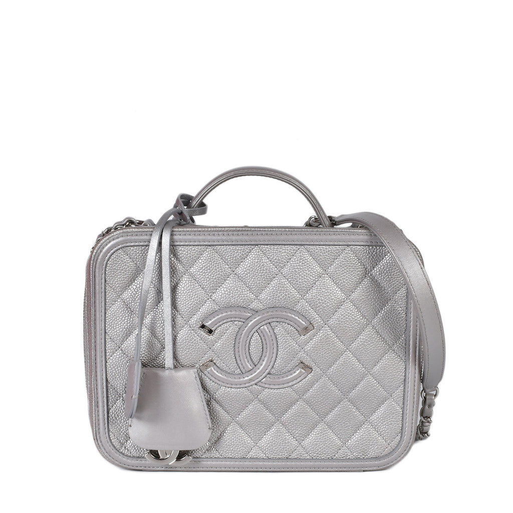 Chanel Silver Quilted Caviar Leather Filigree Large Vanity Case Bag SHW