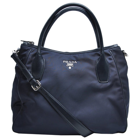 BR4992 Navy Blue Tote with Shoulder Strap - Glampot