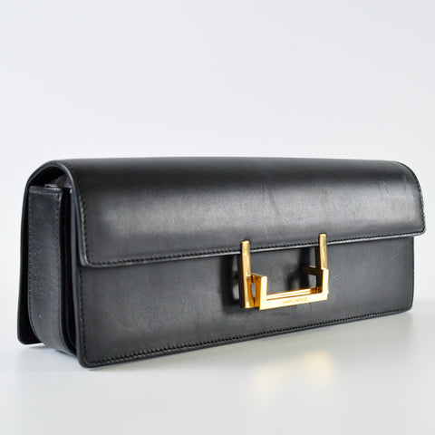 Long Clutch Black Box Leather with Gold Hardware 318627 213317