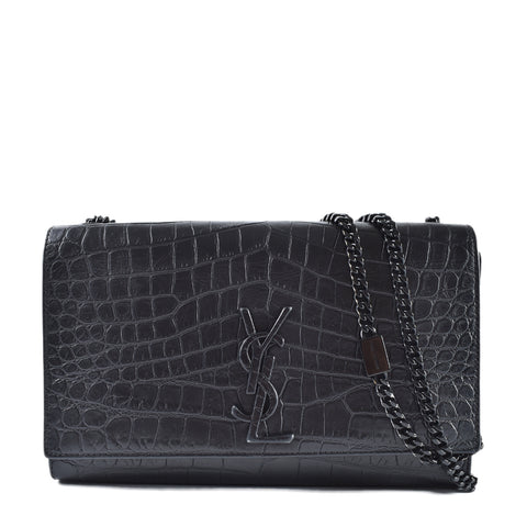 9c9ee95352 Yves Saint Laurent Croc Embossed Kate Monogram Medium All Black Satchel