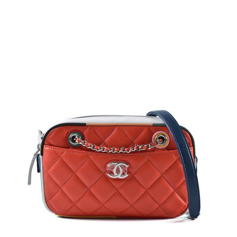 Chanel Cruise 2017 Red/Multi Calf Leather Small Camera Bag 23688226
